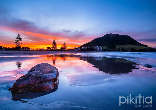Dusk over Mount Maunganui Beach, New Zealand
