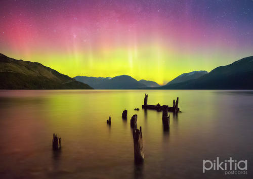 Aurora Australis over Lake Wakatipu, from Glenorchy, Queenstown, New Zealand
