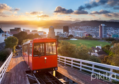 Wellington Cable Car at sunrise, New Zealand