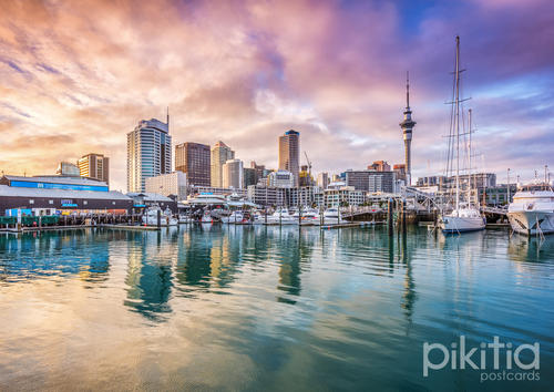 Sunrise at Viaduct Harbour, Auckland, New Zealand